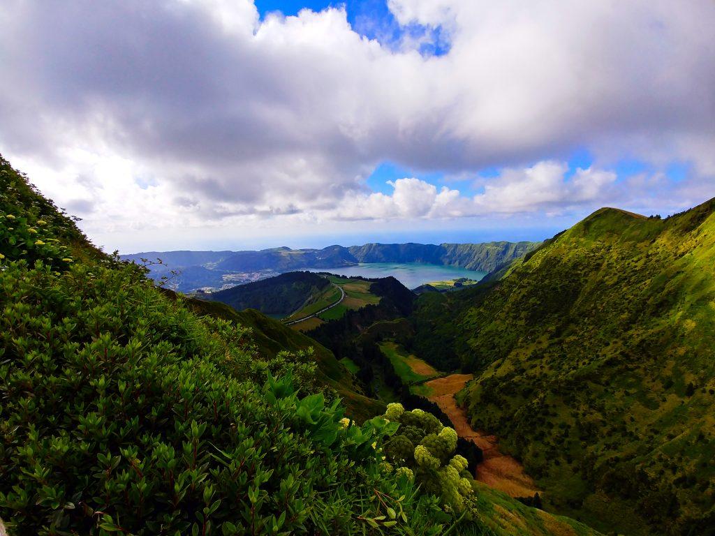 View over the caldeira of Sete Cidades to the Atlantic Ocean