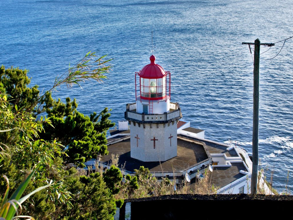 The Farol Ponta do Arnel on Sao Miguel is one of the prettiest lighthouses on the island.