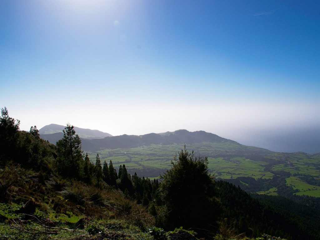 View of the mountains by the south eastern coast seen from the Miradouro do Pico da Vara.