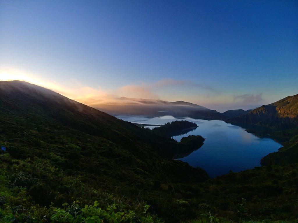 Panorama of the Lagoa do Fogo during sunrise