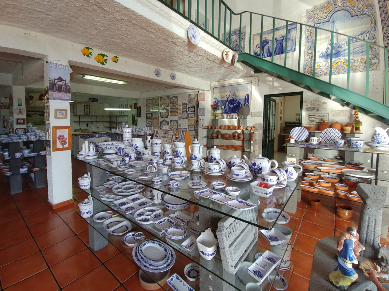 Hand-painted crockery, pots, figures and many other things in the salesroom of the Cerâmica Micaelense