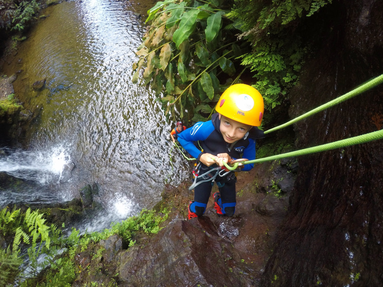 Abseiling during the canyoning