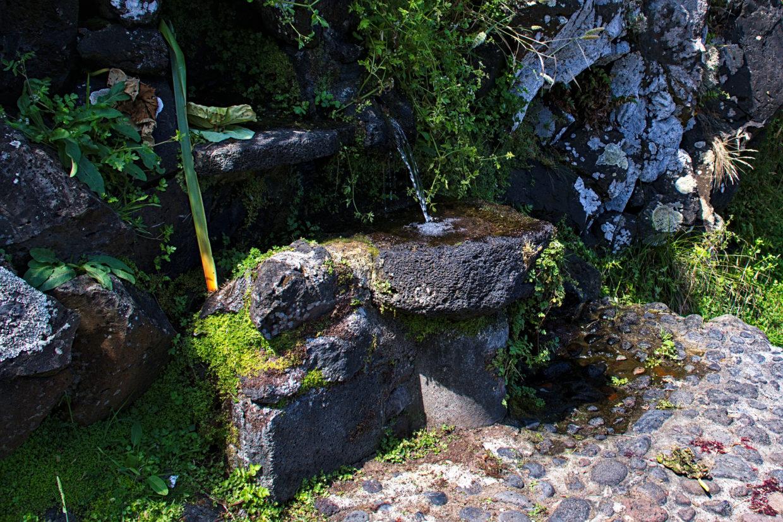 Der Mühlstein bei der Mühle an der Praia da Viola dient als Becken einer Quelle.