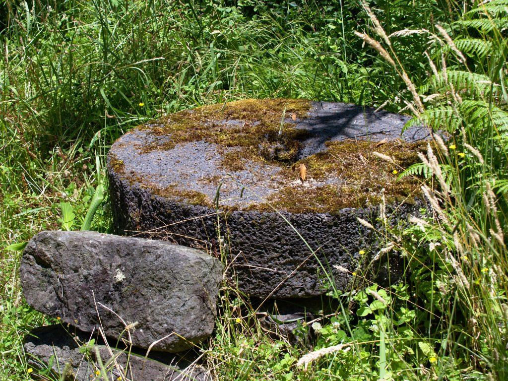 Only a little bit of moss is growing on this millstone, so it is easy to recognise.