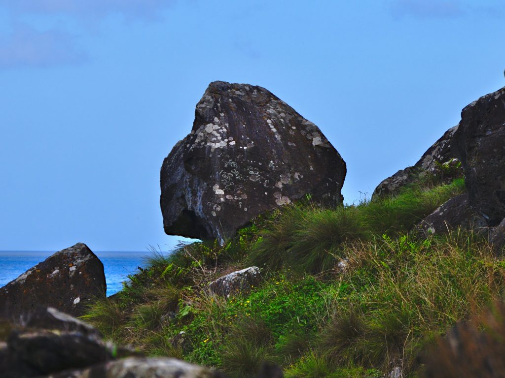Rock by the path to the Praia da Viola