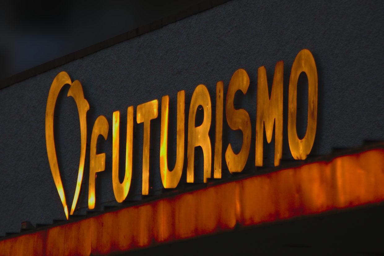 Futurismo plate in Ponta Delgada during sunset