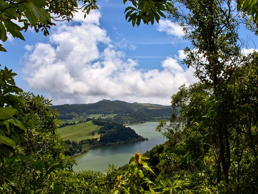 View of Lagoa das Furnas from the hiking trail