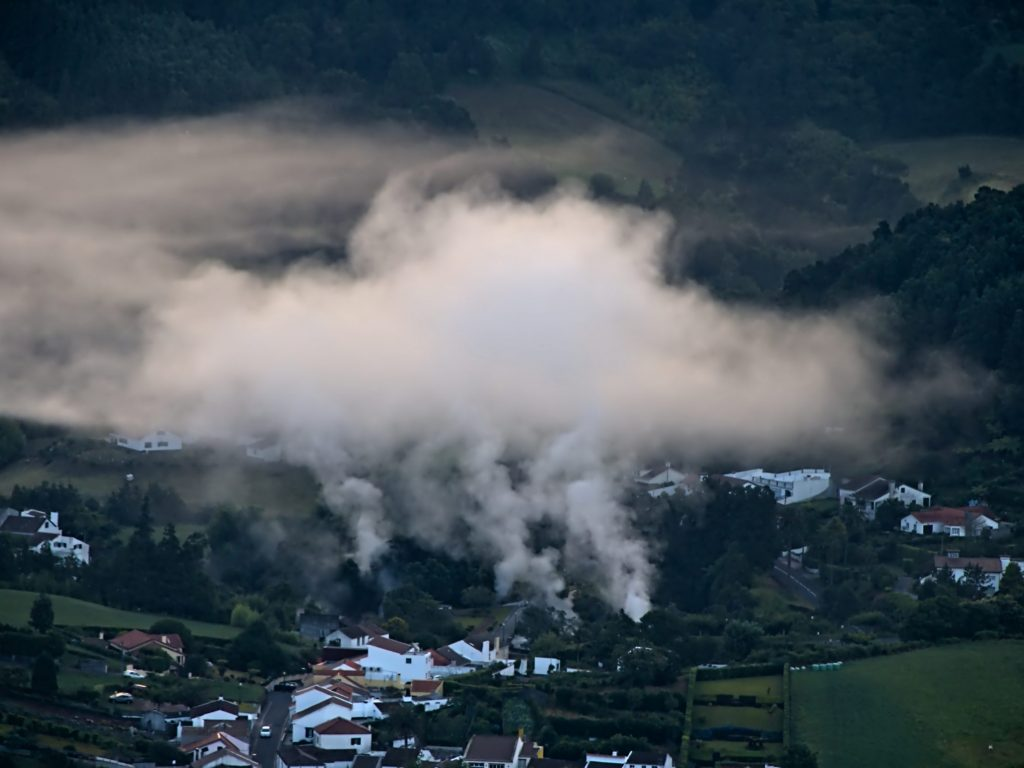 Steam clouds of the Caldeiras in Furnas at dawn